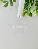 Star Acrylic Personalised Christmas Decoration