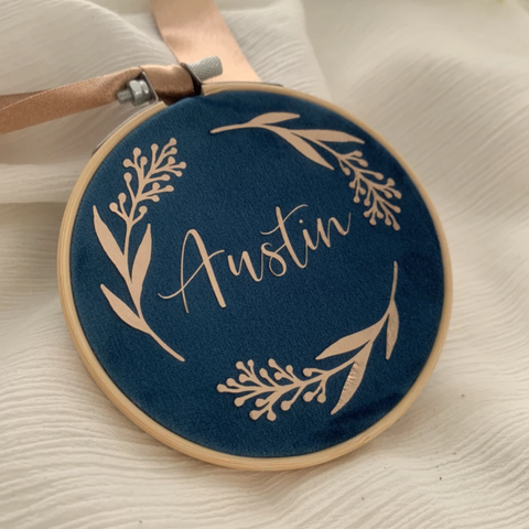 Teal Personalised Velvet Christmas Decoration