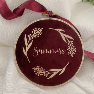 Burgundy Personalised Velvet Christmas Decoration