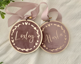 Mauve Personalised Velvet Christmas Decoration