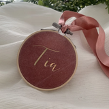 Dusty Pink Personalised Velvet Christmas Decoration