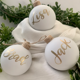 White Matte Christmas Glass Bauble
