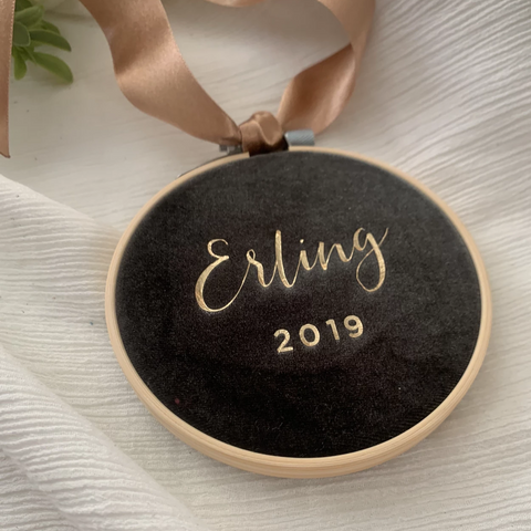 Olive Personalised Velvet Christmas Decoration