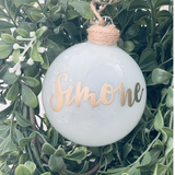 White frosted Christmas Glass Bauble
