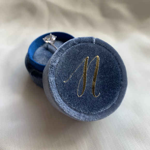 Blue Velvet Monogramed Ring Box