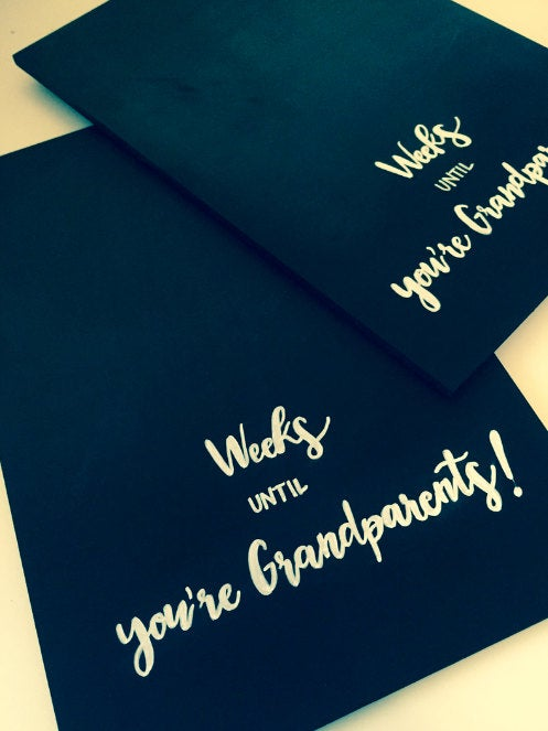 Weeks Until You're Grandparents / baby birth announcement / grandparent baby reveal / chalkboard / baby