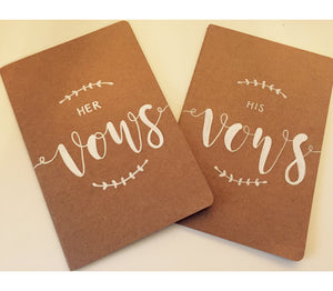 Vow Book / Personalised Vow Momento / Hand Lettered Vow Book / Kraft / Black / Gold / Silver