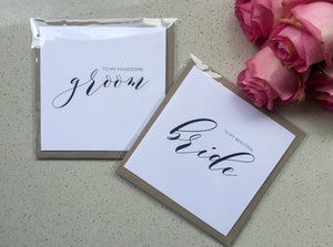 To my Bride / To my groom / Wedding day cards / bride and groom note set
