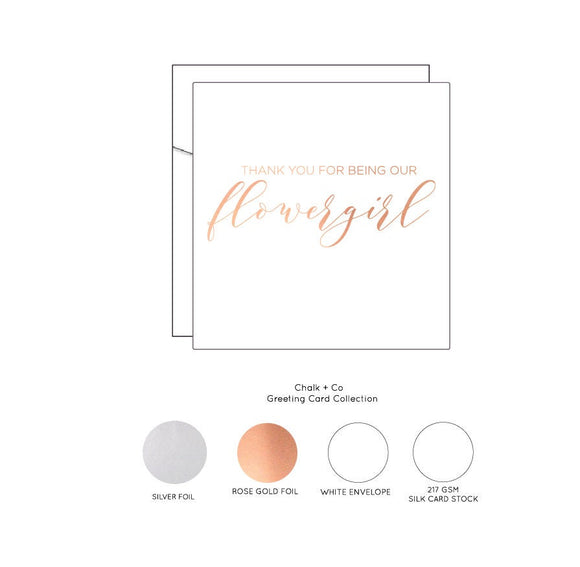 Thank you for being my FlowerGirl - Rose Gold Foil Card