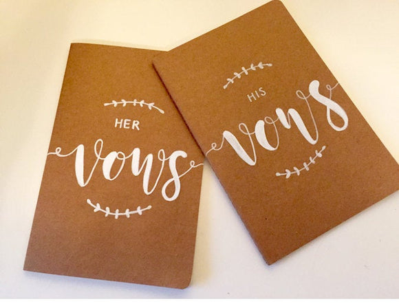 Hand Lettered Vow Book Set