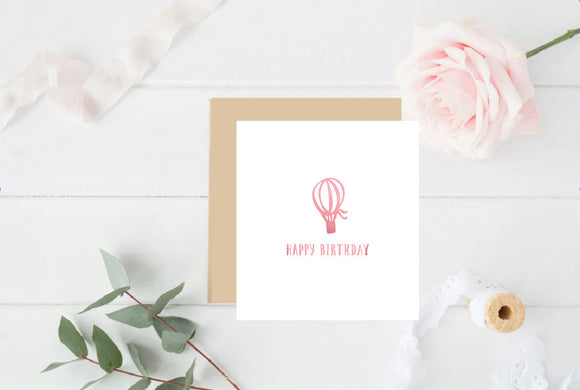 Happy Birthday Hot air Balloon Pink Foil Birthday Card