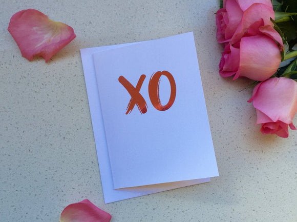XO / Best Friend Card / Wedding Card / Bride Card / Valentines Card / Silver Foil Card / Best Friend Card 5x7 Inch Card / Greeting Card