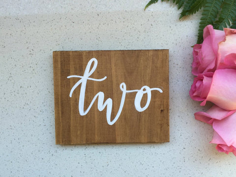 Wooden Table Numbers / Freestanding Table Numbers / Calligraphy / Hand Lettered