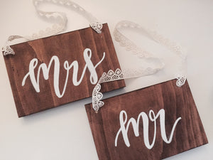 Mr and Mrs Chair Signs with Lace