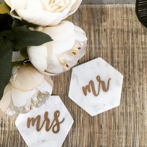Personalised Marble Hexagon Coasters + Place Cards