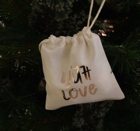 With Love hand lettered Calico Gift Bag