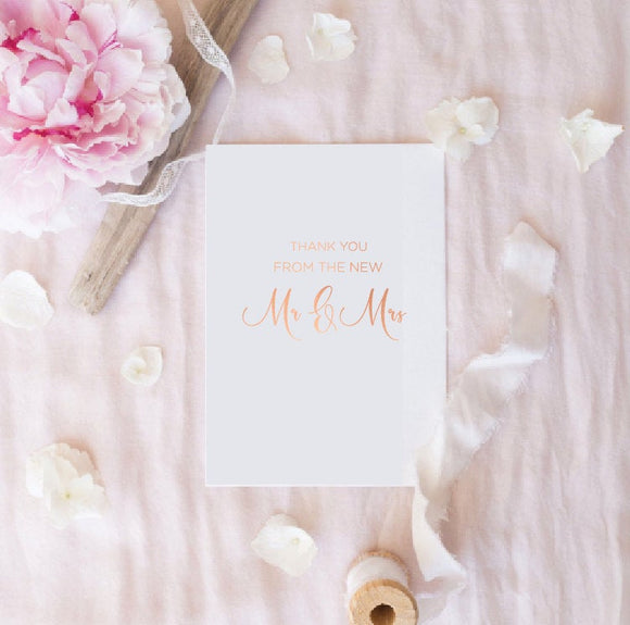 Thank You from the New Mr & Mrs Rose Gold Foil Card