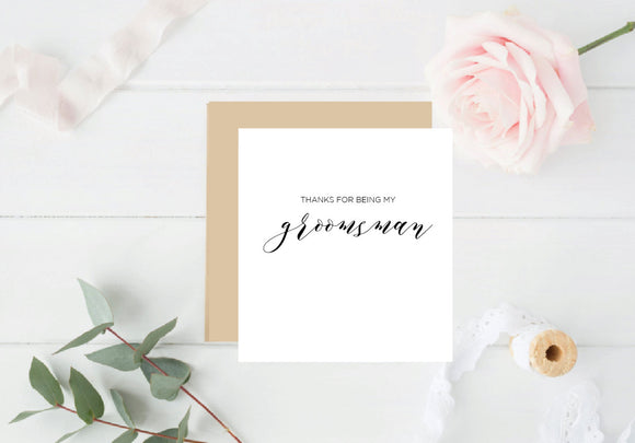 Thank you for being my Groomsman- Rose Gold Foil Card