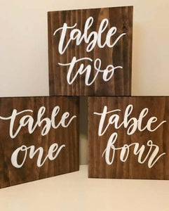 "Wooden Table Numbers - ""Table One"""
