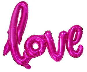 Hot Pink 'Love' Script Balloon