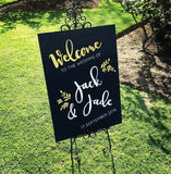 Wedding Welcome Sign - Navy + Gold