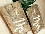 Mr and Mrs Rustic Wedding Chair Signs