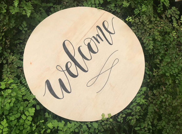 Welcome circular Ply sign