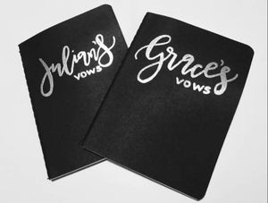 Black Embossed Vow Book / His and Hers Vow Book