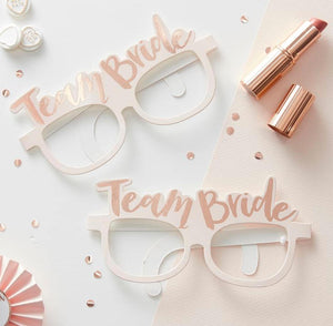 Team Bride Rose Gold and White Photo Prop Glasses