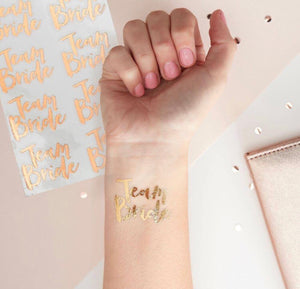 Rose Gold Team Bride Temporary Tattoo