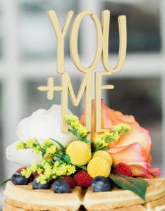 You + Me Wooden Wedding Cake Topper