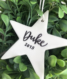 Personalised Star Ceramic christmas ornament