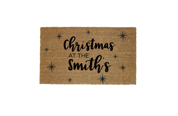 Christmas at the - Personalised Doormat with Stars