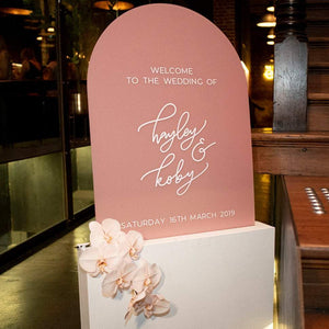 Rounded Blush Wedding Welcome Sign