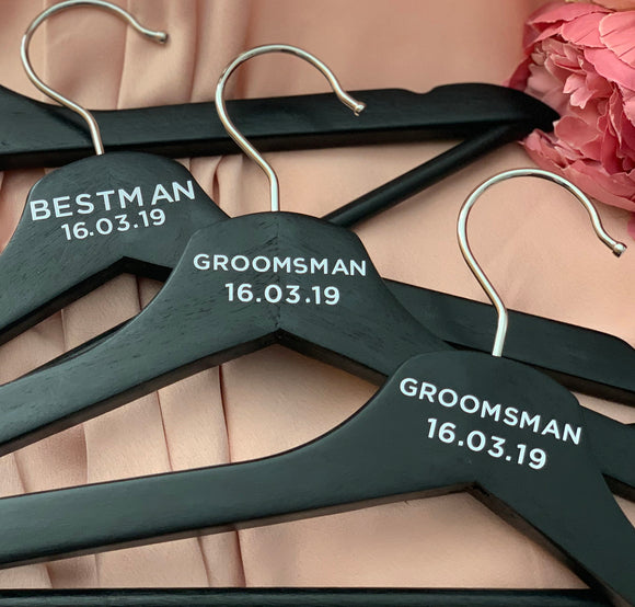 Wedding Party Coat Hangers - Personalised Black Minimalistic