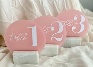Numerical Blush Pink Acrylic Table Numbers