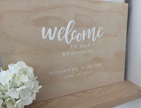 Wedding Event Welcome Sign Natural and White