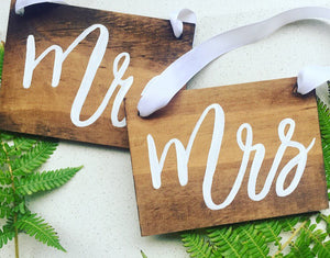 Mr and Mrs Chair Signs with White Ribbon