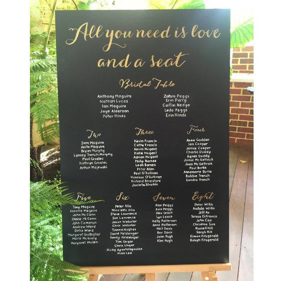 Seating Chart Chalkboard Sign