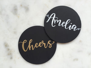 Personalised custom coasters | chalkboard coasters / calligraphy / hand lettering /gold / copper/ white