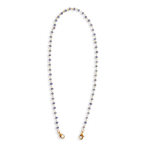 Deep Blue Iolite Gemstone Beaded Gold Chain Cloth Mask Lanyard