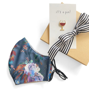 Florence Wine Glass Pin and Cloth Face Mask Gift Set