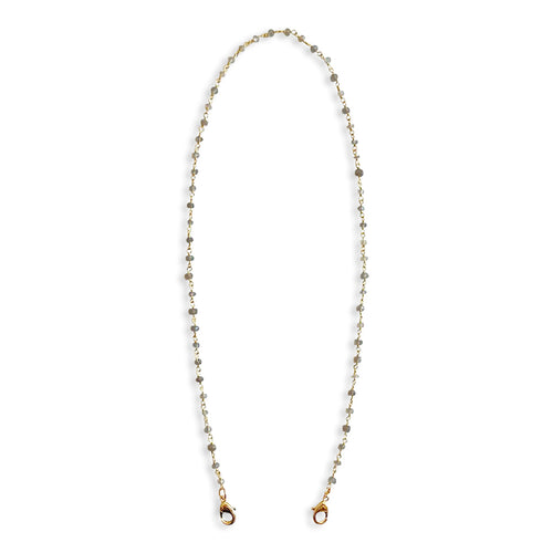 Grey Moonstone Gemstone Beaded Gold Chain Cloth Mask Lanyard