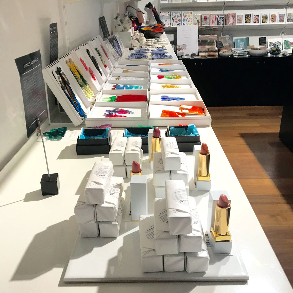 dunkle authentic lipsticks on display at the Museum of Brisbane