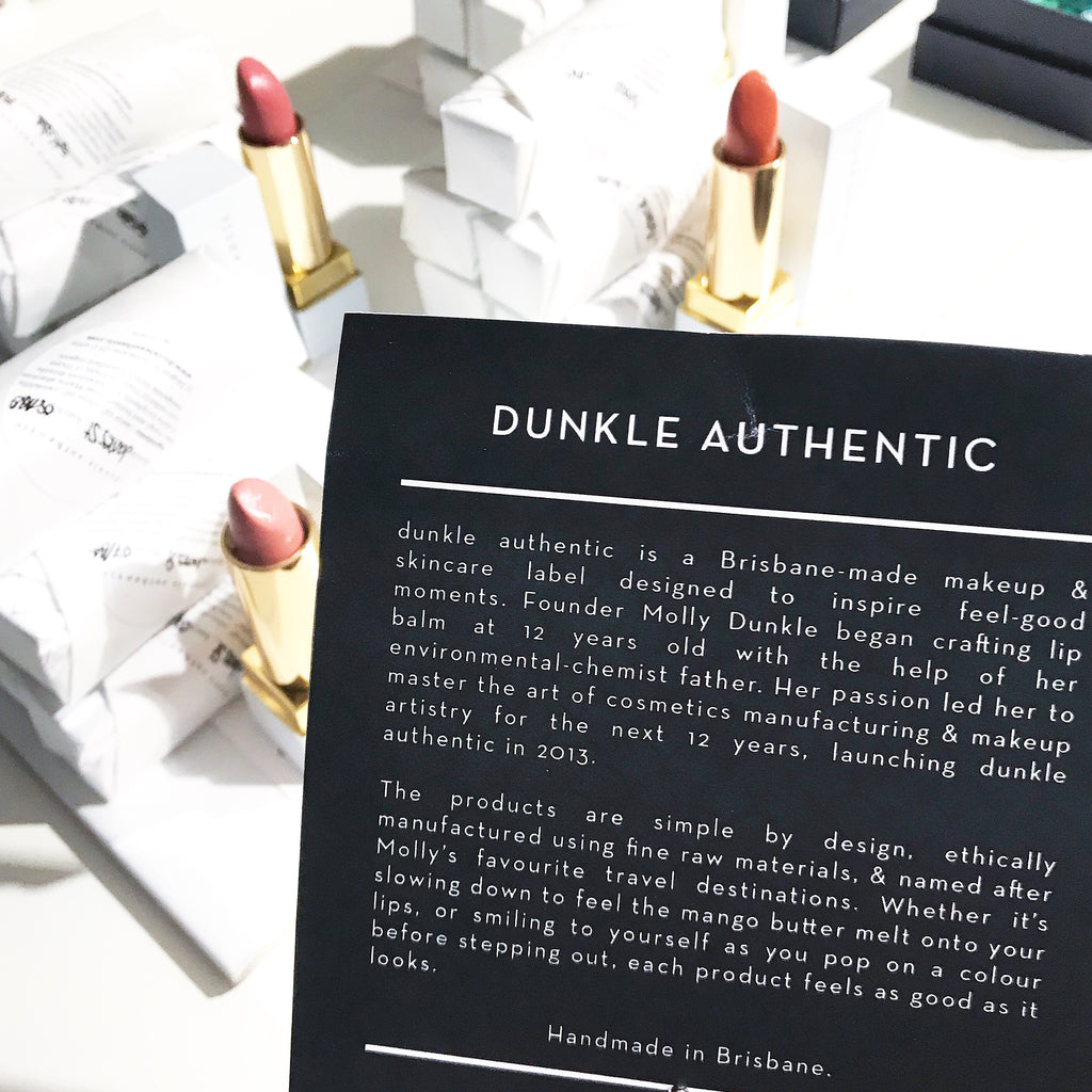 dunkle authentic lipstick on display at the Museum of Brisbane Shop