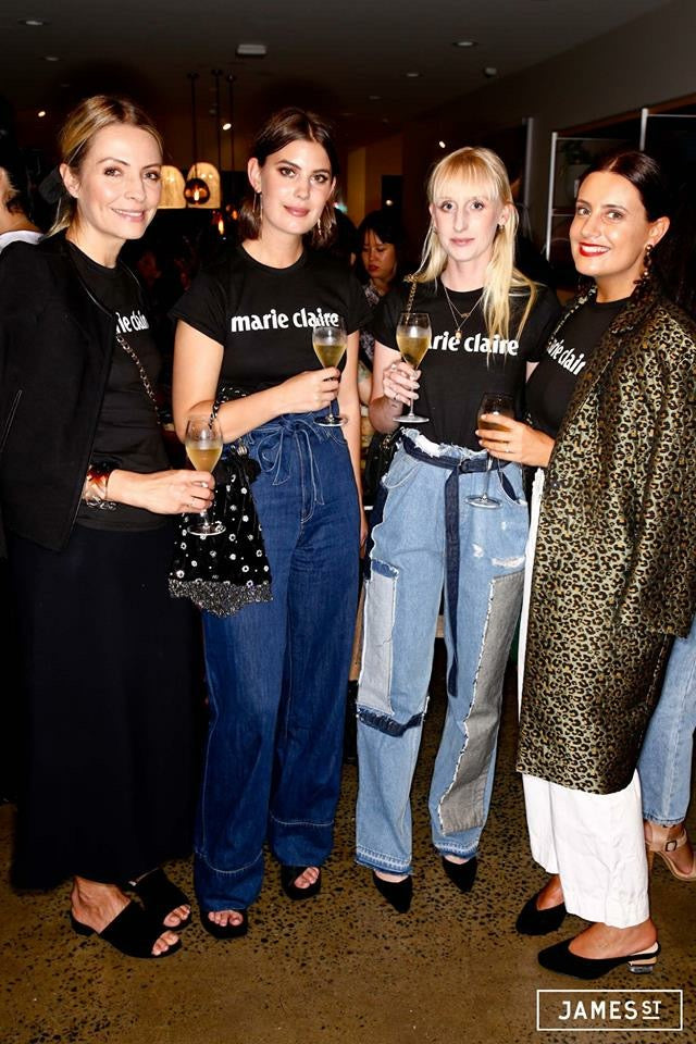 the editorial team of Marie Claire wearing dunkle authentic lipstick and foundation