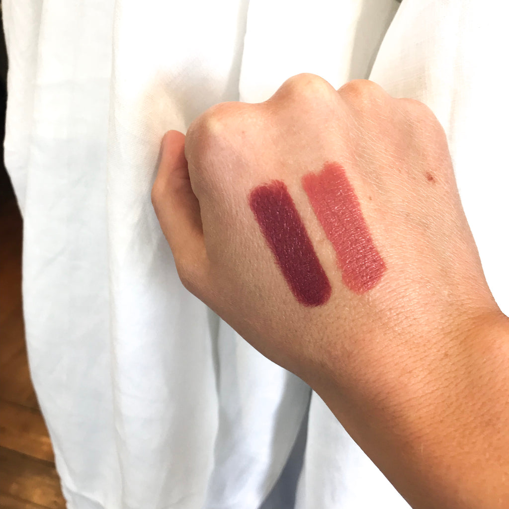 colour swatches of Brisbane lipstick and Fort Collins lipstick by dunkle authentic