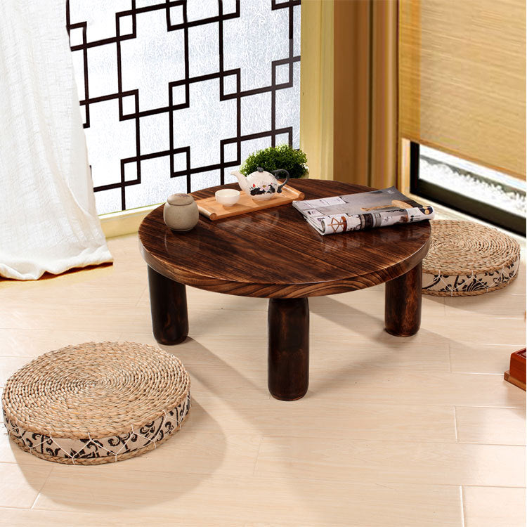 Beautiful Japanese Antique Small Round Table 60cm Paulownia Wood Traditional Asian  Furniture Living Room Low Floor Coffee Table Wooden