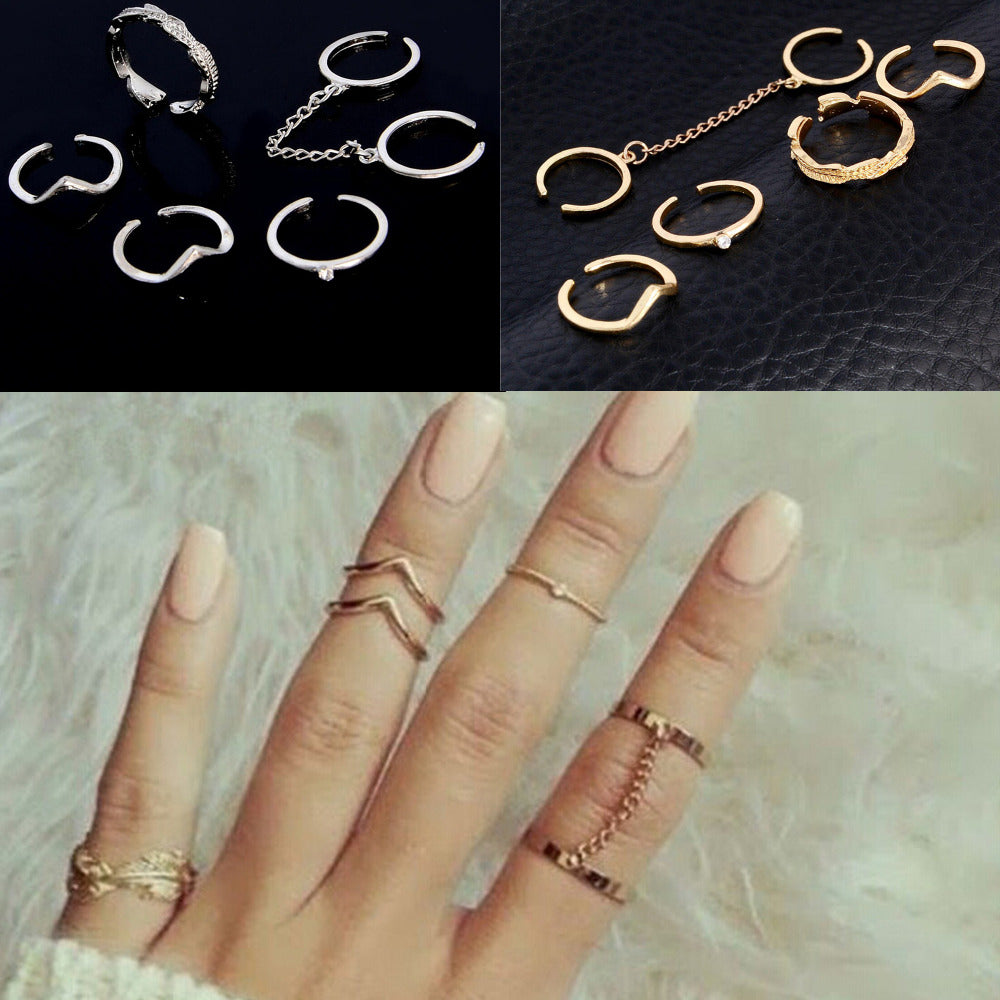 79907a1c5f New 6pcs /lot Shiny Punk style Gold Color Stacking midi Finger Knuckle rings  Charm Leaf Ring Set for women Jewelry