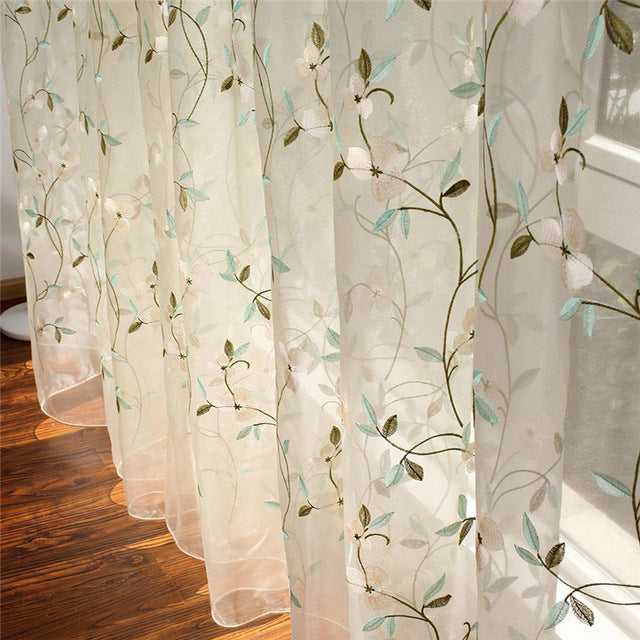 Floral Embroidered Sheer Tulle Curtains For Living Room Girls Jacquard Pastoral Window Curtain Bedroom Cortinas